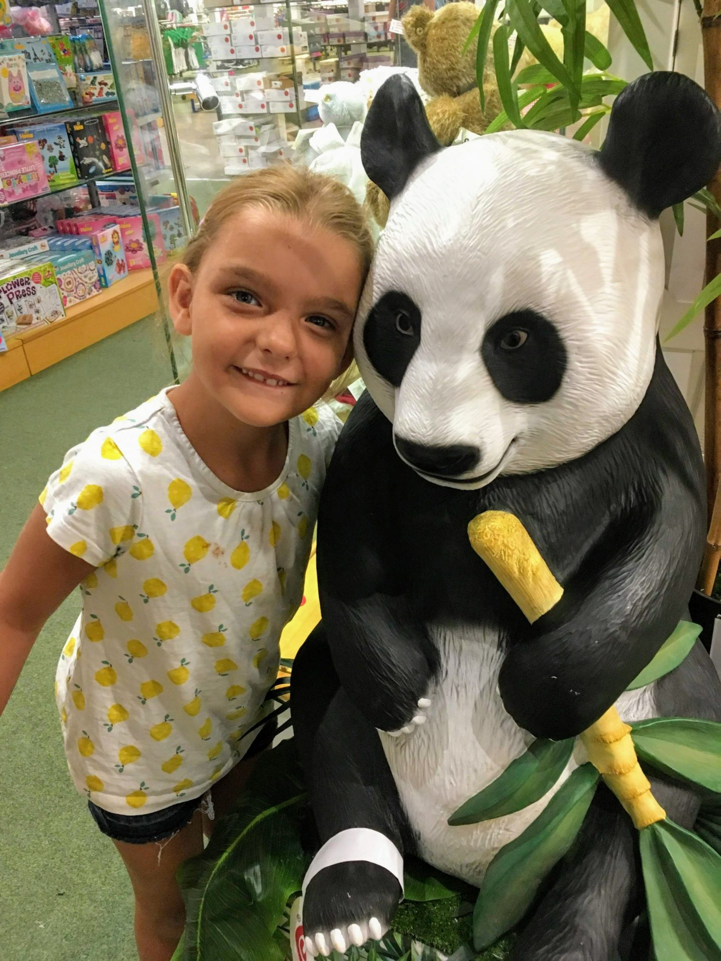 Travel: An overnight stay in Grantham. Girl with panda.