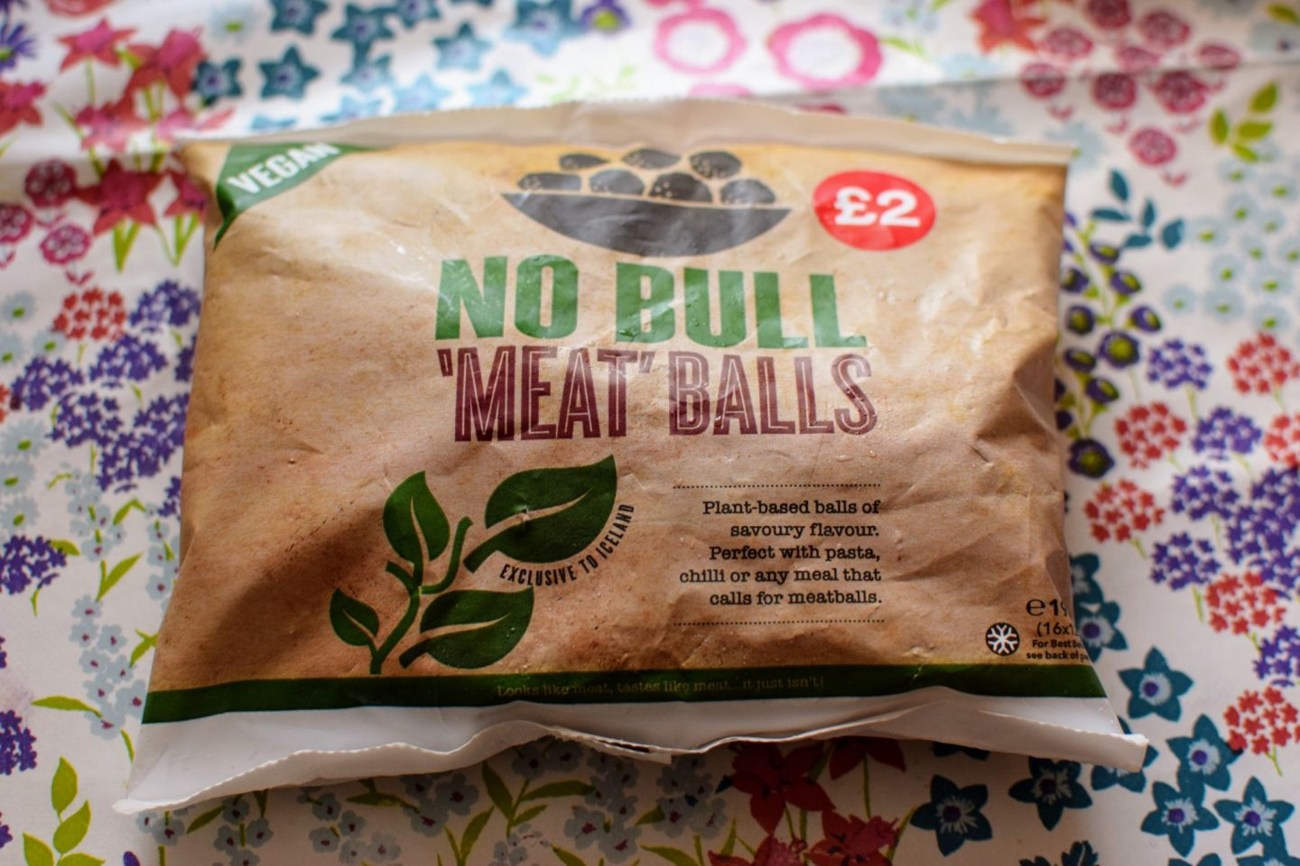 ", Vegan ""Meat"" Balls"" and Pasta:  Iceland No Bull ""Meat"" Balls"
