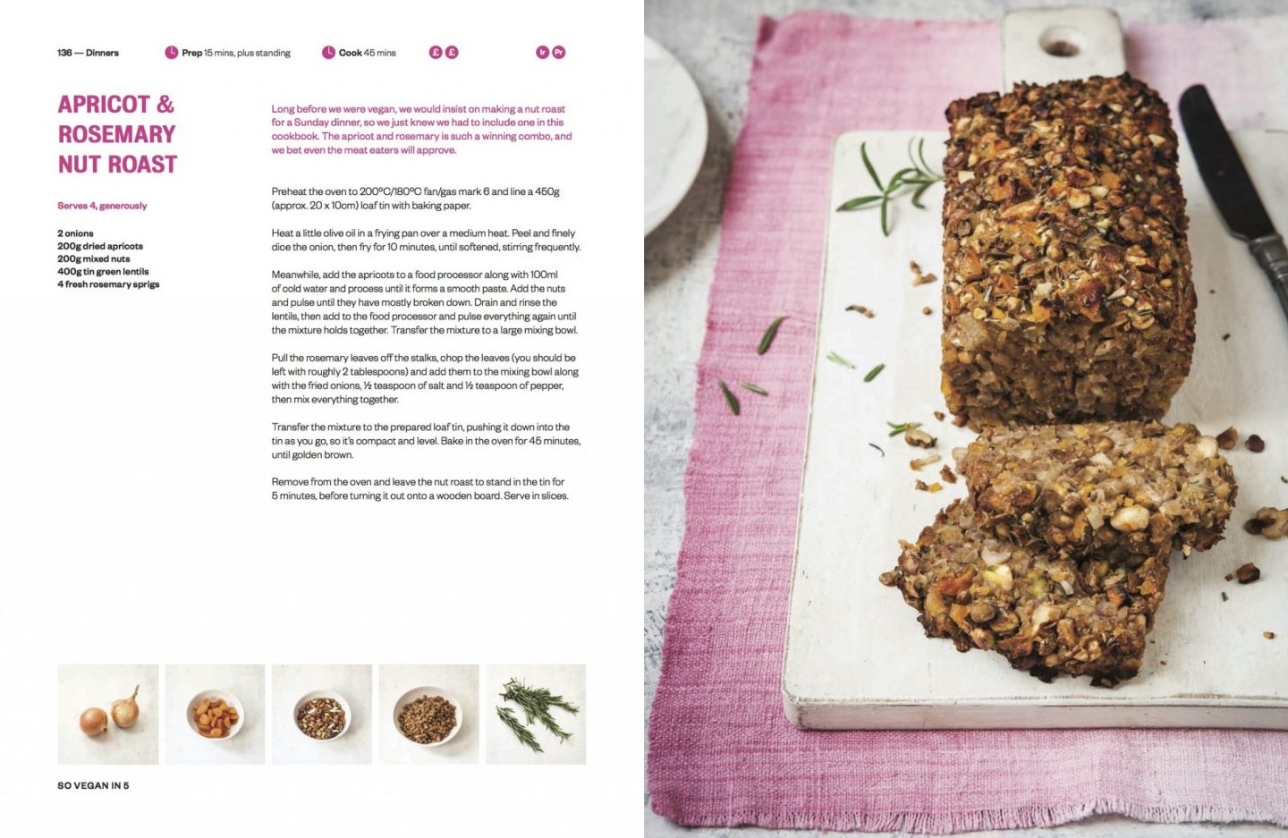 , Five Recipes Using 5 Ingredients /  So Vegan in 5:  Recipe Book Review and Giveaway